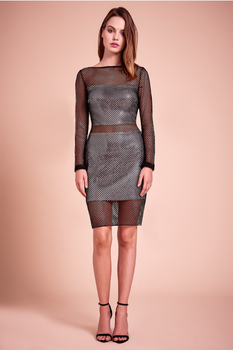 Summer Metallic Set Fishnet Dress